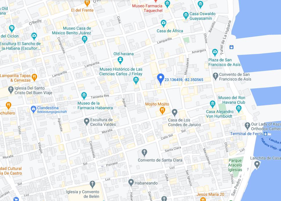 Eine karte mit Casa Vedado in Havanna