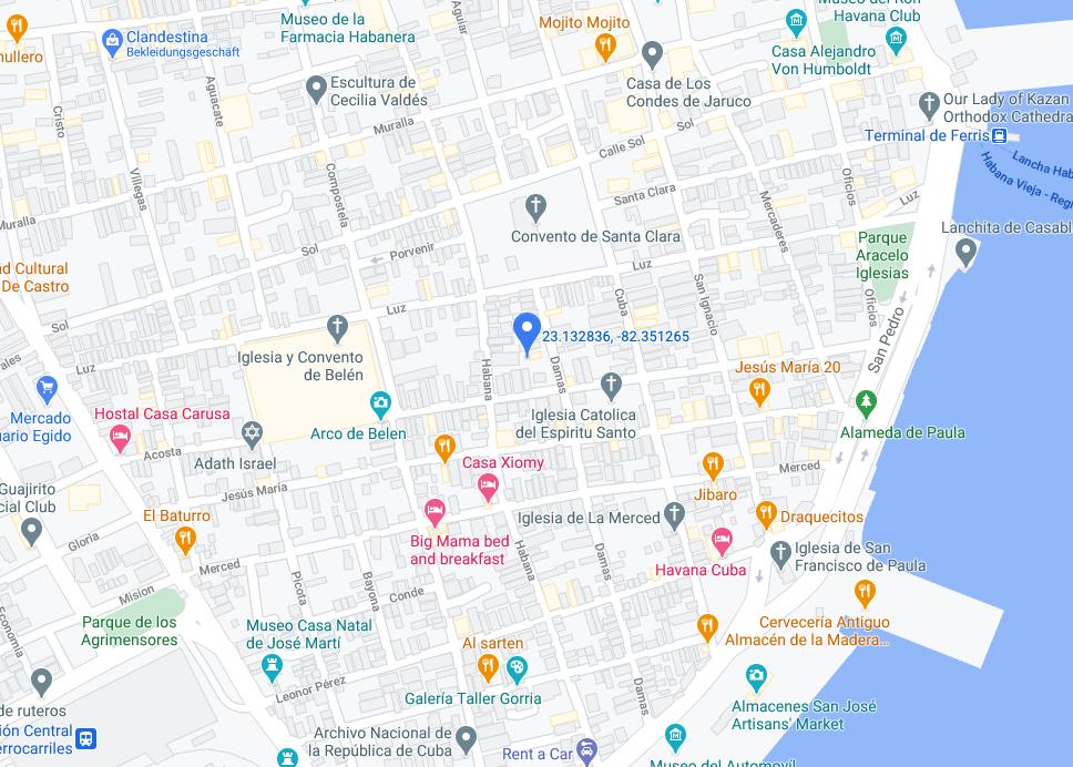 Eine Karte mit Casa Galindo in Havanna