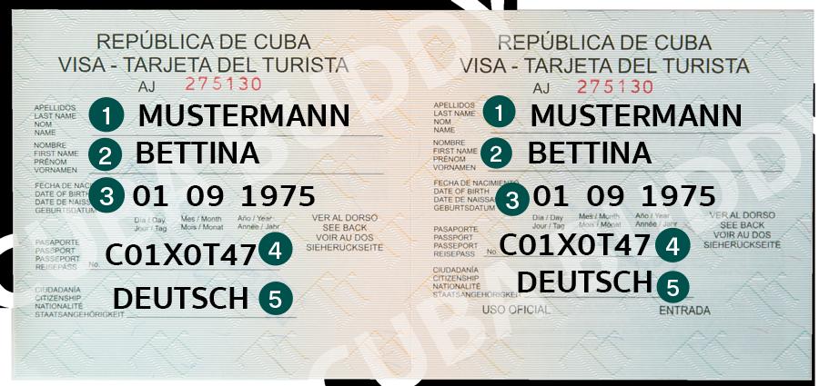 Beispiel wie man eine Touristenkarte ausfüllt