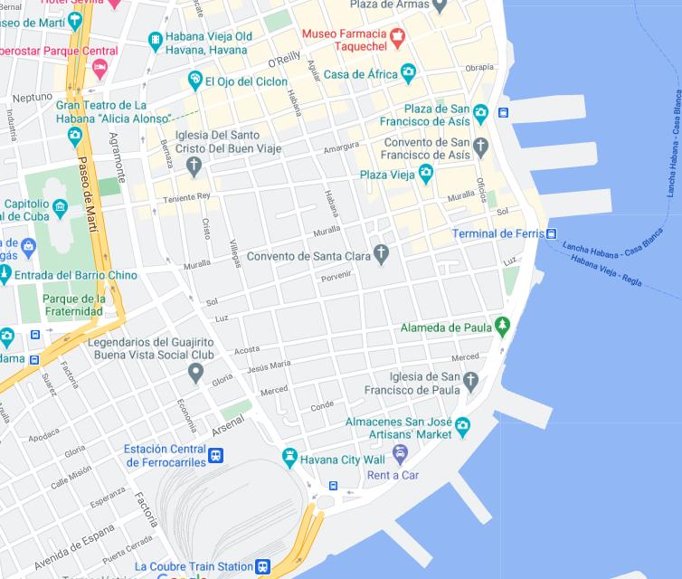 Die Karte zeigt die Lage von Casa Carmen in Havanna