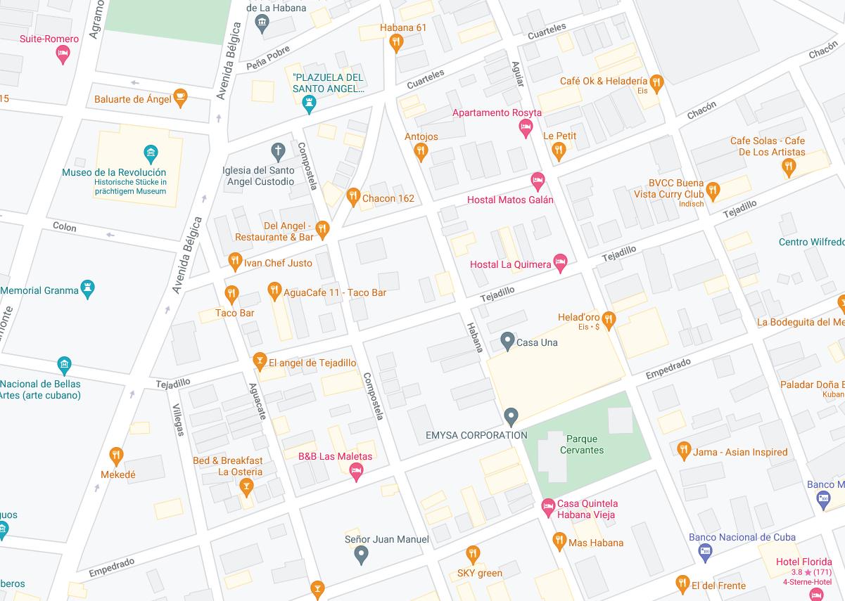 Die Karte zeigt die Lage eines Boutique Casas in der kubanischen Hauptstadt Havanna.
