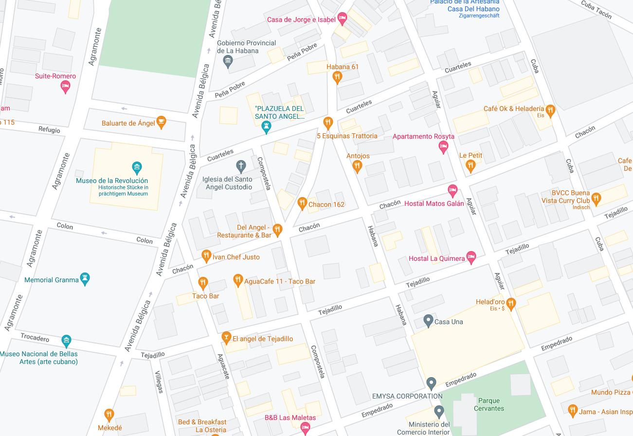 Die karte zeigt sie Lage eines Boutique Casas in Havanna, Kuba.