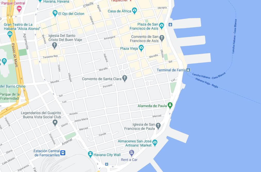 Eine Karte von Kuba die die Lage eines Premium Casas in Havanna zeigt.