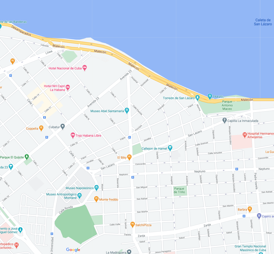 Die Karte zeigt die Lage von Casa an der Bucht in Havanna